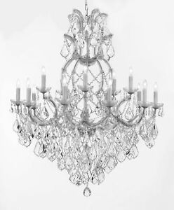 16 LIGHT MADE WITH SWAROVSKI CRYSTAL SILVERISH COLOR MARIA THERESA CHANDELIER