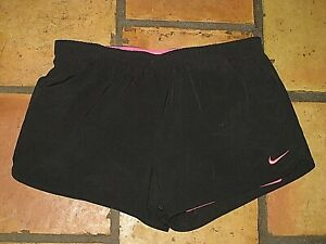 NIKE DRI FIT BLACK ATHLETIC RUNNING SHORTS WITH PINK LINER WOMEN'S SIZE XL $6.50