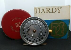 "Vintage Hardy Bros.England 4"" Silex Major Salmon Fly Reel, Case, Box $175.00"