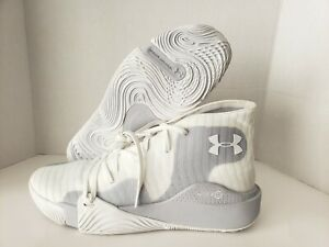 UNDER ARMOUR Spawn Mid White Grey Basketball Shoes Men's 3021262 102 Size 12 $34.99