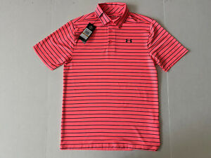 NWT Under Armour Golf Men's Playoff 2.0 Stripe Polo Size S Blitz Red $65 $30.99