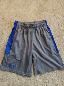 Under Armour Athletic Shorts Youth Boy's Size Small YSM 8 gray blue drawstring $4.99