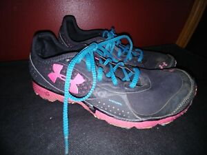 Under Armour Womens Size 9 Sneakers Running Shoes Heatgear Micro G Black Pink $28.00