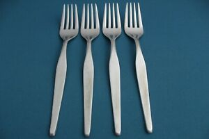 4 Dinner Forks Noritake LINDEN Japan 18/8 Stainless 7 1/2