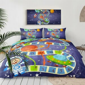 Bedding Set Board Game Duvet Cover With Pillowcases Space Planets Home Textile