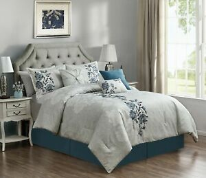 Chezmoi Collection Flora 7 Piece Blue Floral Embroidered Bedding Comforter Set
