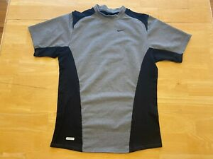 Nike Dri Fit Men's FITTED Shirt M Medium Gray Black Vented Panels Workout Gym $9.95