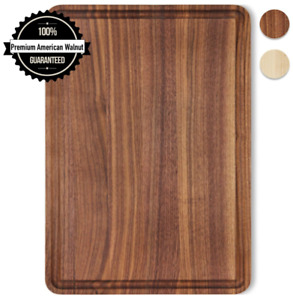 Small Cutting Board Walnut Wood 12x8 Inch Reversible with Juice Groove, Chopping