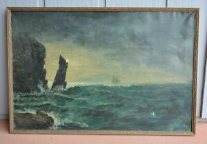 Lg. Antique Oil Painting - Rocky Bluff Ship off Coast at Sea in Moonlight $189.00