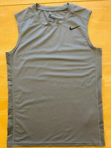Boy's Nike Dri Fit Shirt Youth L Large Fitted Sleeveless Muscle Gray EUC $7.95