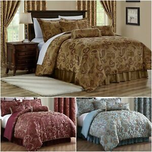 Chezmoi Collection Adelle 7 Piece Paisley Jacquard Embroidered Comforter