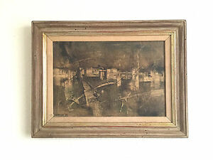 BURDETTE MORTON ABSTRACT OIL SIGNED PAINTING VINTAGE MID CENTURY MODERN EAMES $275.00