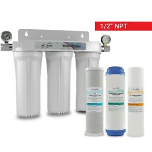 3 Stage Whole house water Sediment Carbon Filter +2 Dry Pressure Gauges 1/2