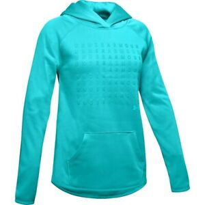NWT Under Armour Girls Youth Armour Fleece Logo Hoodie Blue 1343610 Small $40 $19.99