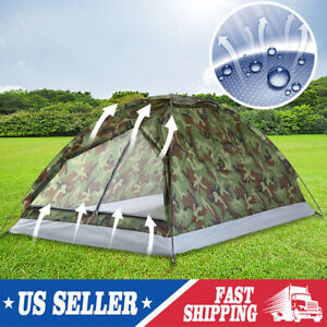 2 3 Person Outdoor Camping Waterproof 4 Season Family Tent Camouflage Hiking