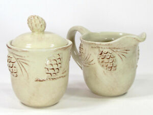 Target Home HOLIDAY PINE CONE 8oz Sugar Creamer Set 3Pc Embossed Pinecone