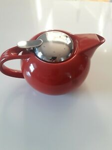 TEAVANA SINGLE CUP TEAPOT WITH INFUSER RED CERAMIC  used