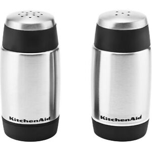 KitchenAid Set of Two Stainless Steel Salt and Pepper Shakers NEW