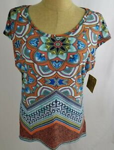 Valerie Stevens Kaleidoscope Top Medium Dolman Sleeve Open Back Blue Orange NWT