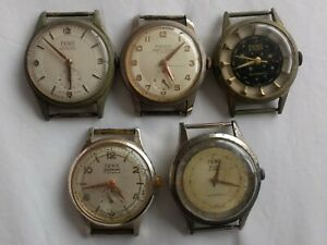Collection of 5 Vintage 1950#x27;s 1960#x27;s FERO Swiss Mens Wristwatches