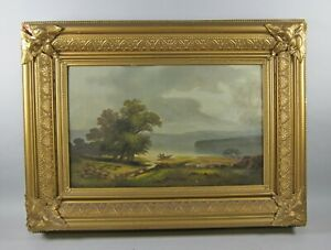 Antique Oil Painting Landscape Boat Water Scene Restored 18th 19th Century $300.00