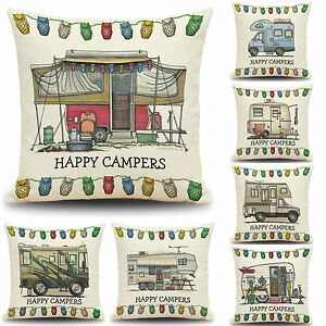 18'' Happy Camper Cushion Cover Sofa Waist Throw Pillow Case Home Bed Decoration