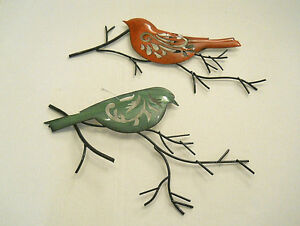 Set Of 2 Painted Birds On Branches Or Twigs Metal Wall Art Hanging Sculpture New $27.95