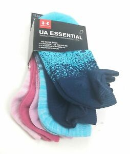 Under Armour Women's No Show Socks Size 4 6 Small UA Essential Training 6 Pairs $16.00