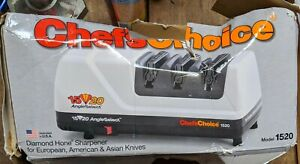 ChefsChoice 1520 AngleSelect Diamond Hone Electric Knife Sharpener 3 Stage White