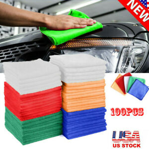 100 Pack Microfiber No Scratch Cleaning Cloth Rag Car Polishing Detailing Towels