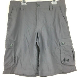 euc Under Armour Youth Large 30 in. Loose Gray Multiple Pocket Cargo Golf Shorts $22.21