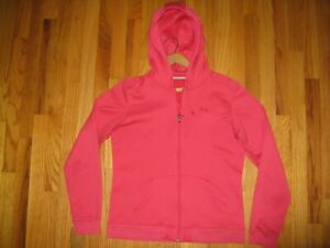 Under Armour Women's Sz Medium Meas Pink L S Full Zip Fleece Hoodie Sweatshirt $12.99