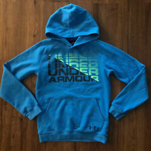 Boys Under Armour Hoodie Size XL Loose Cold Gear Blue EUC $18.99