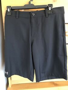 Boys Youth Large Heat Gear Under Armour Loose Golf Shorts Black Casual Uniform $25.00