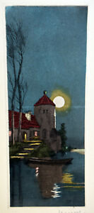 Antique Etching Signed NANCY Old Country Mansion Lakescape Moonlight Shadows $49.99