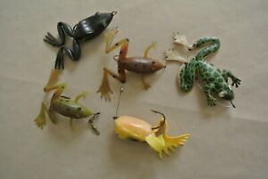5 VTG RUBBER FROG TOP WATER LURES GREEN BROWN BLACK YELLOW