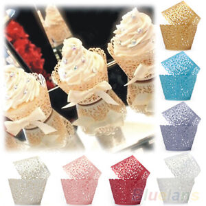12Pcs Wedding Baby Shower Filigree Vine Decor Wrapper Wraps Cupcake Cases Useful $8.39