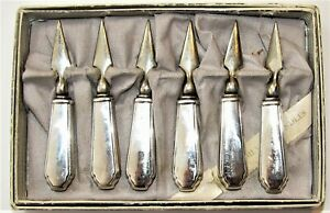 Antique sterling silver handle corn on the cob holders picks set of 6 pieces