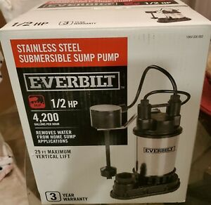 Everbilt 1 2 HP Submersible Stainless Steel Sump Pump
