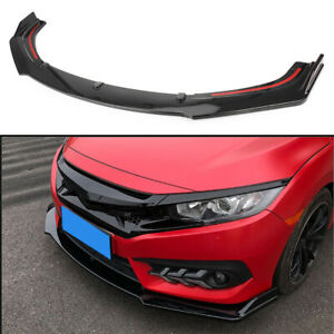 For 2016 19 Honda Civic Front Bumper Lip Kit Spoiler Splitter Glossy Black 3 PCS