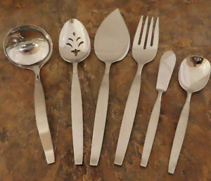 Oneida Frostfire 6 Serving Pieces Community Stainless Flatware Vintage Lot K