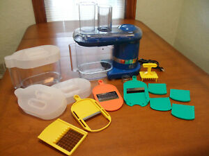 Cooks Essentials Blue Electric Mandolin Food Slicer W/Blades Tested Working