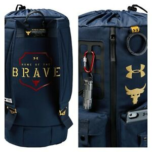Under Armour Project Rock Dwayne Johnson 60 Duffel Gym Bag Backpack Freedom X $6.50