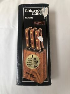 Chicago Cutlery MSS6 Set Of 6 Steak Knives 103S With Wood Block