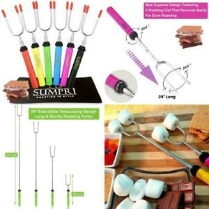 Sumpri Marshmallow Roasting Sticks, Smores Skewers Telescoping Rotating Forks Se