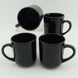 4 Stoneware Coffee Cups Set Solid Black 4