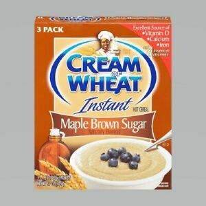Cream of Wheat Instant Hot Cereal MAPLE BROWN SUGAR Flavor 3-Pack * BB 8/2021 *