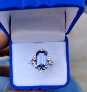 3.50Ct Emerald Cut Vintage Blue Sapphire Engagement Ring 14K White Gold Finish