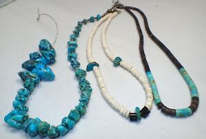 Estate Lot of 3 Vintage Turquoise & Shell Beads & Nugget Necklaces 1 is Broken