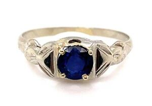 Vintage Antique Sapphire Engagement Ring .65ct 18K White Gold Art Deco